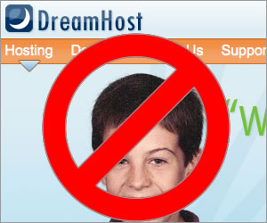 Dreamhost's logo with a NO symbol over it.