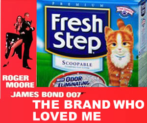 The Spy Who Loved Me movie poster with Fresh Step Cat Litter