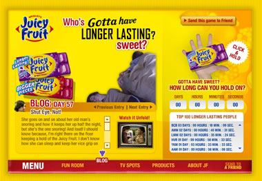 Screencap of Wrigleys blog for Juicy Fruit gum.